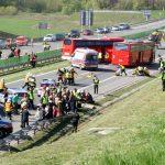 Ćwiczenia służb ratowniczych na autostradzie
