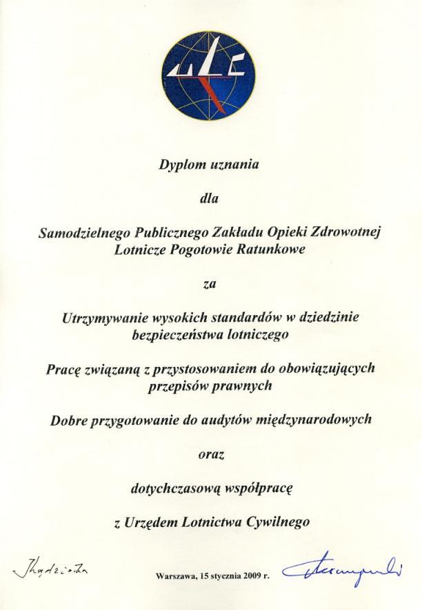 Dyplom uznania za utrzymywanie wysokich standardów w dziedzinie bezpieczeństwa lotniczego